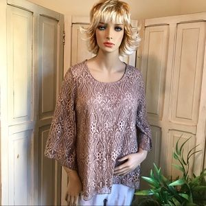 Sequined lace beige dress top